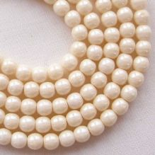 4mm Round Czech Glass Beads Opaque Champagne Lustre - 100